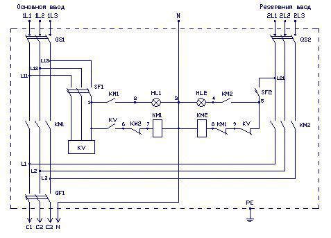 Принципиальная схема АВР ЩАП-23, ЩАП-33, ЩАП-43, ЩАП-53, ЩАП-63
